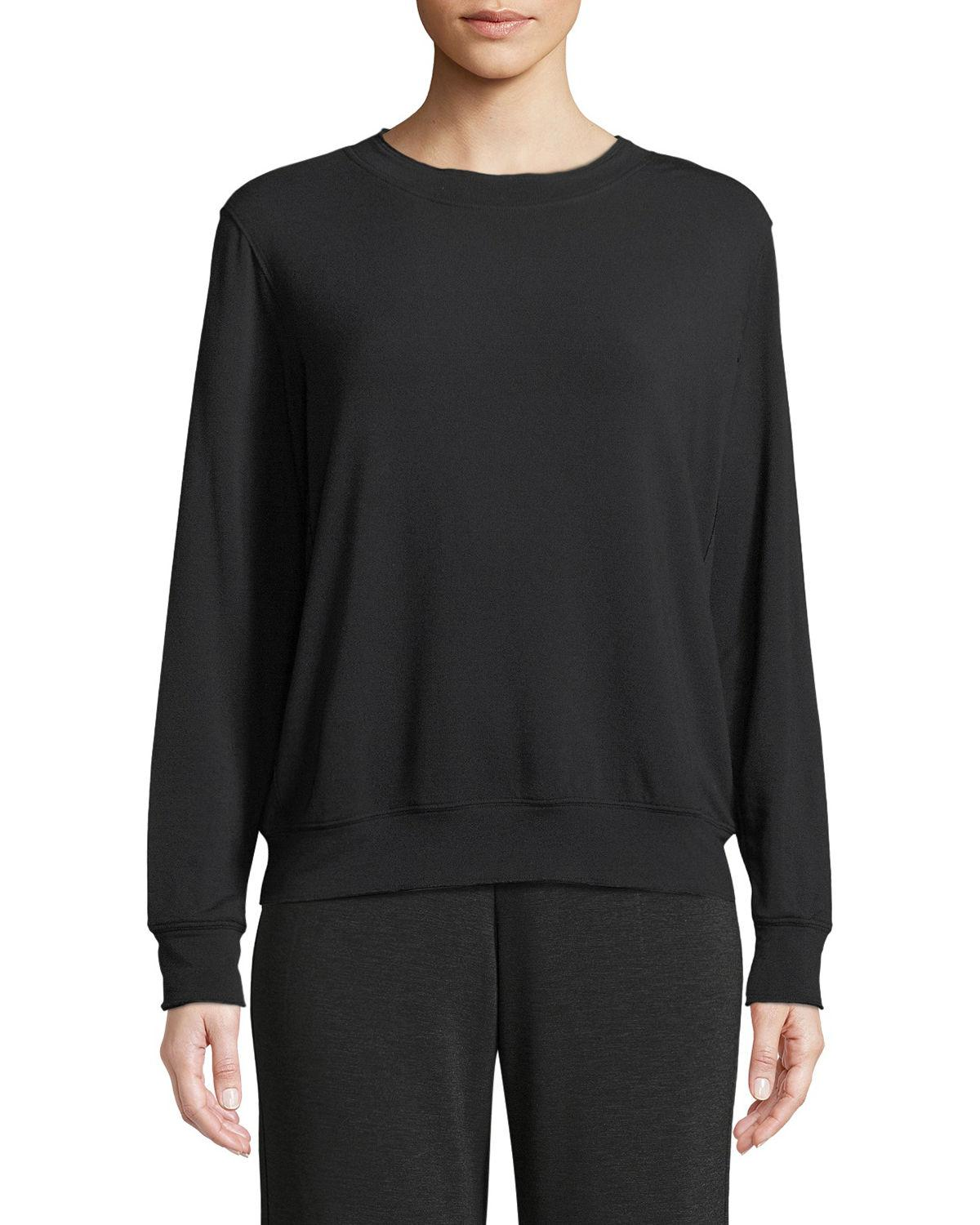 Majestic French Terry Relaxed Sweatshirt In Black