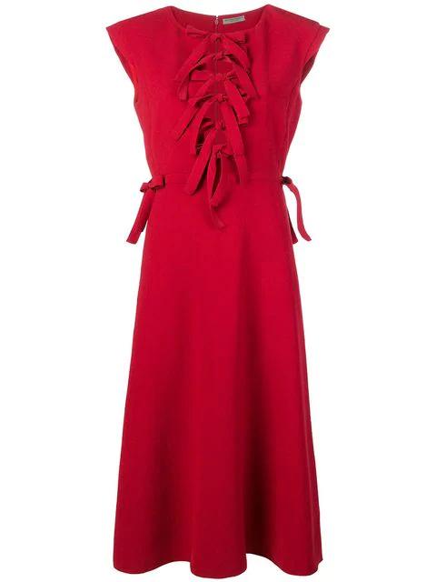 Bottega Veneta Bow-front Sleeveless Tea-length Fit-and-flare Dress In Red