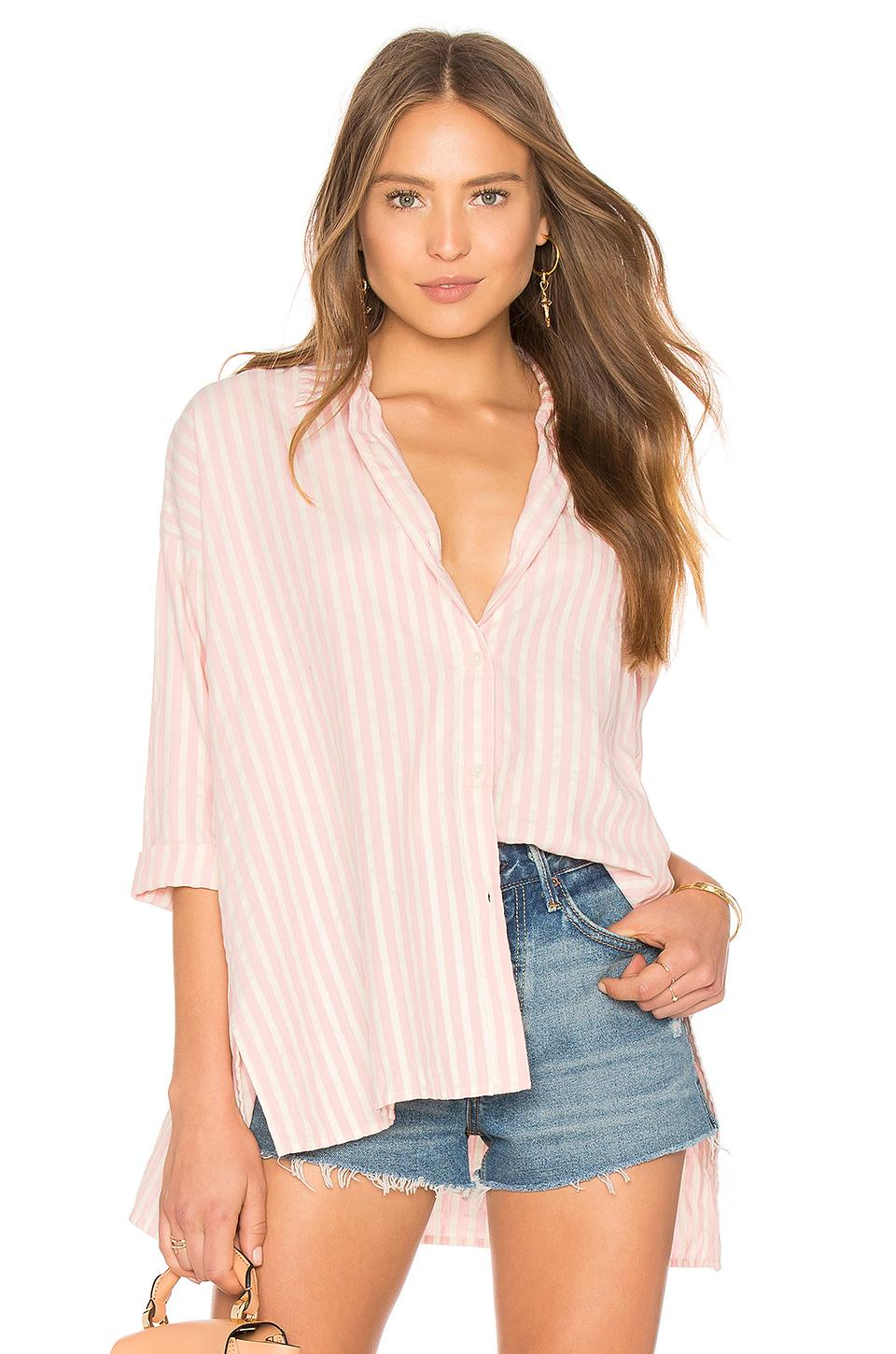The Great The Side Slit Button Up In Pink