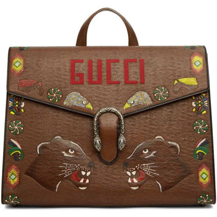 Gucci Brown Hand-painted Dionysus Briefcase In 2576 Brown