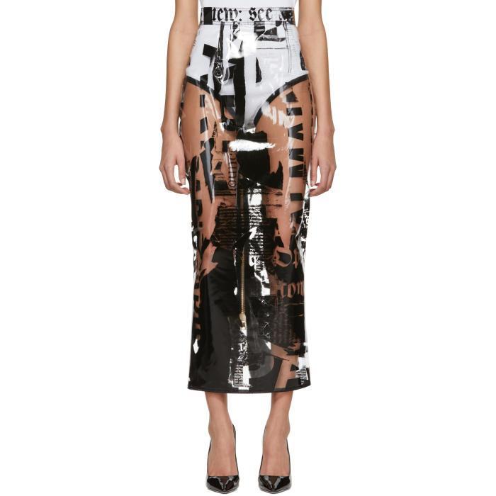 Balmain Transparent Newspaper Print Skirt
