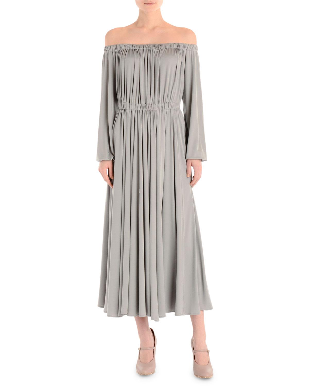 Valentino Off-the-shoulder Long-sleeve Midi Dress, Artic Blue