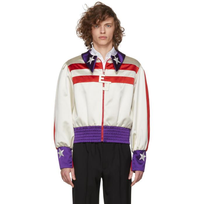 Gucci Red And White Silk Duchesse Elton John Jacket In 9522