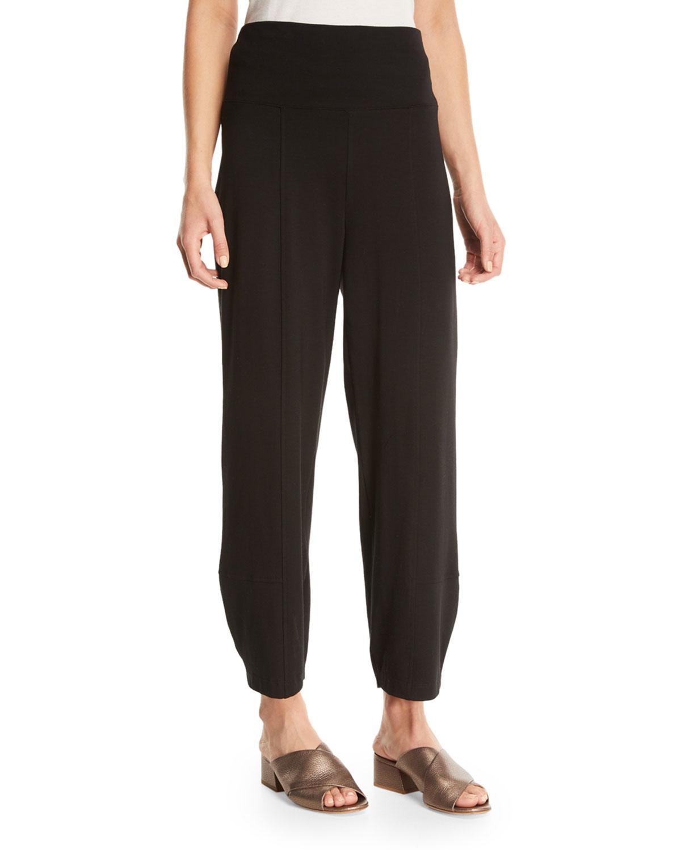 Eileen Fisher Organic Stretch Cotton Fold-waist Cropped Lantern Pants, Petite In Black