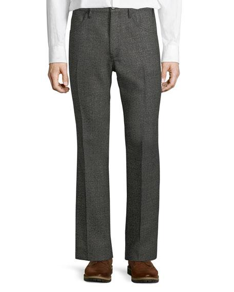 Prada Slouchy Textured Flare-leg Pants In Black