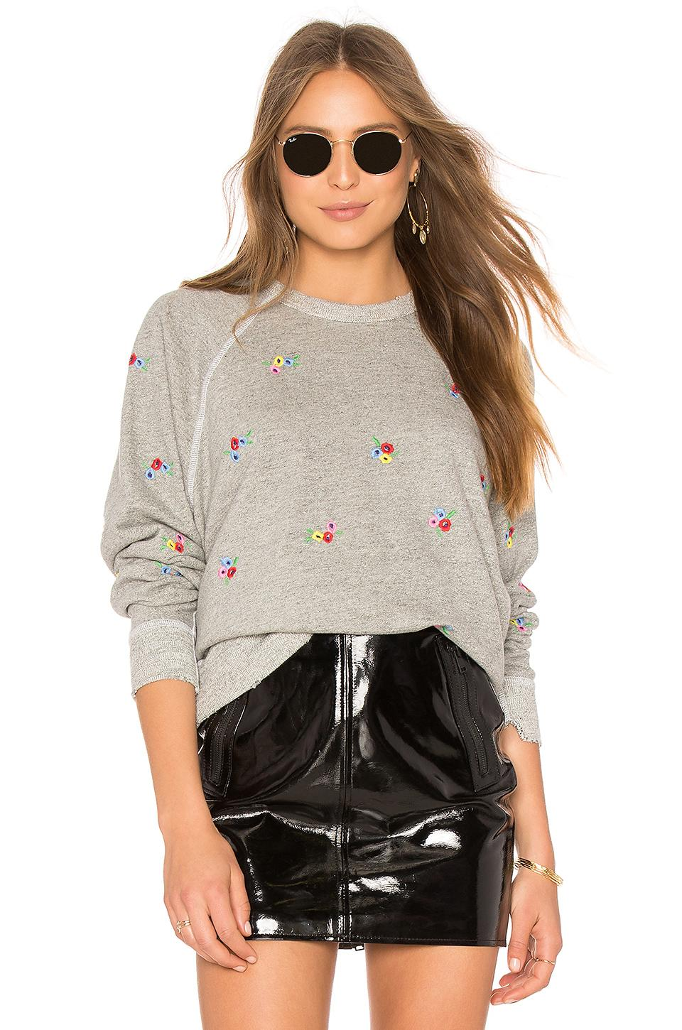 The Great Embroidered College Sweatshirt In Varsity Grey With Bouquet Embr