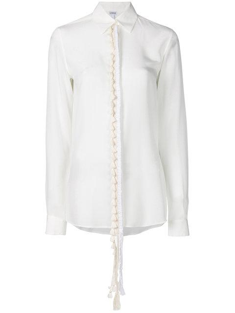 Loewe Tassel Placket Silk Shirt In White