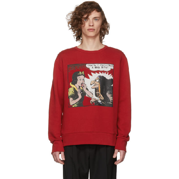 Gucci Oversized Printed Loopback Cotton-jersey Sweatshirt In Red
