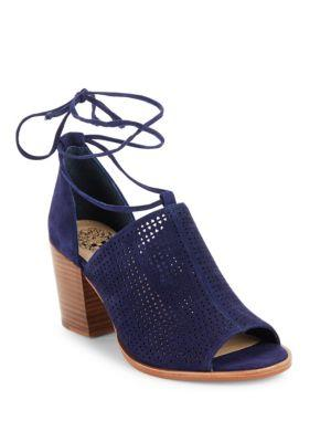 Vince Camuto Lindel Lace-up Suede Booties In Blue