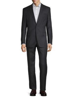Versace Wool Pinstripe Suit In Grey