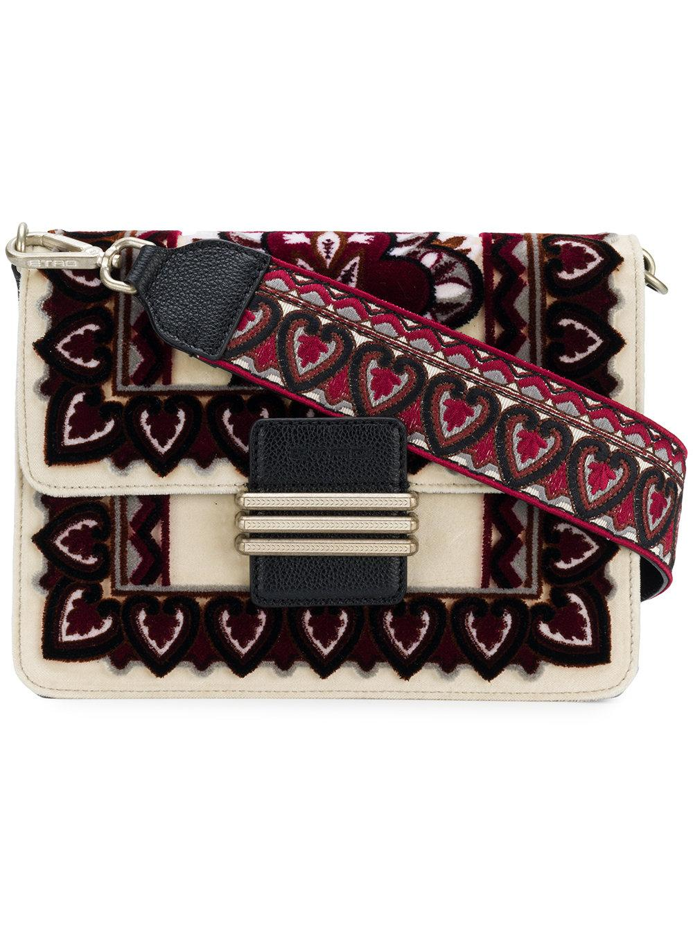 Etro Rainbow Embroidered Shoulder Bag In Multicolour
