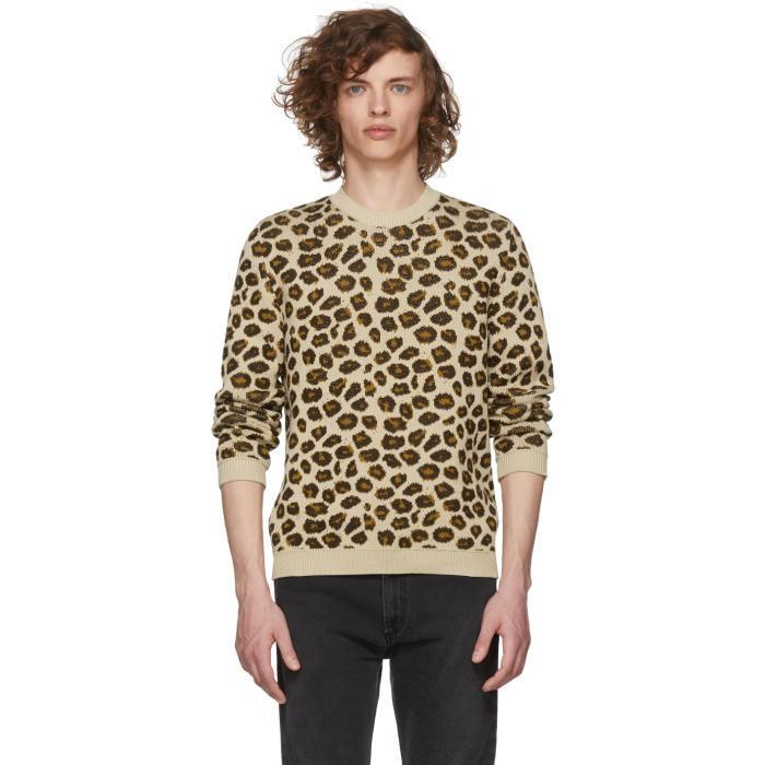 Gucci Beige Jacquard Knit Sweater In 2606