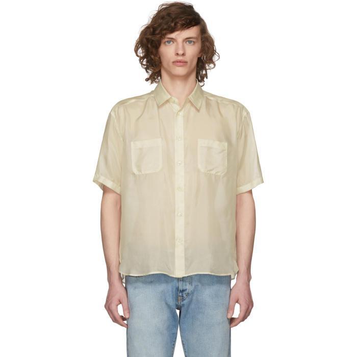Saint Laurent White Short Sleeve Silk Shirt In 9601 White