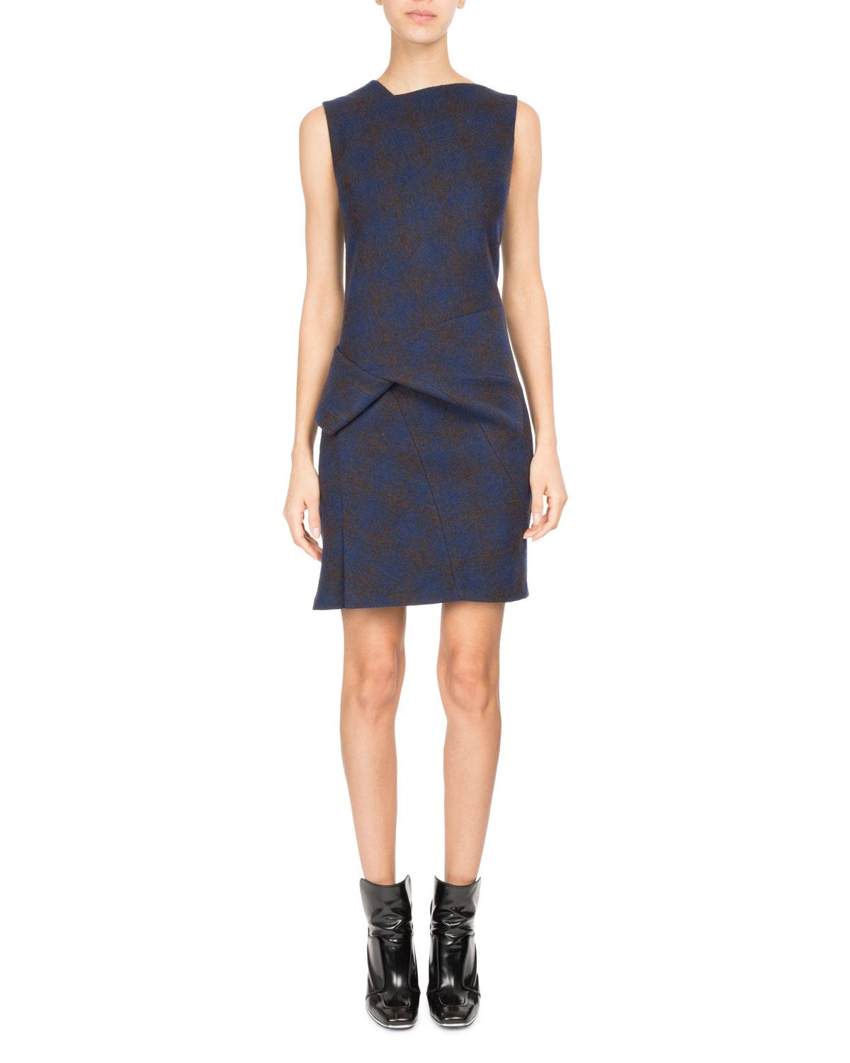 Atlein Sleeveless Plaid Jersey Wool Cocktail Dress In Dark Blue