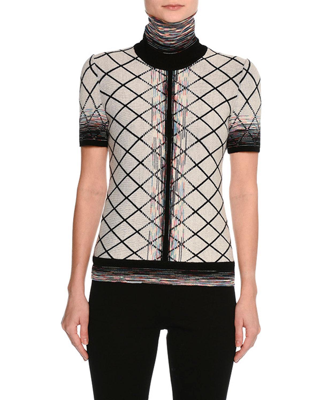 Missoni Short-sleeve Check Jacquard Turtleneck Top, Beige/black