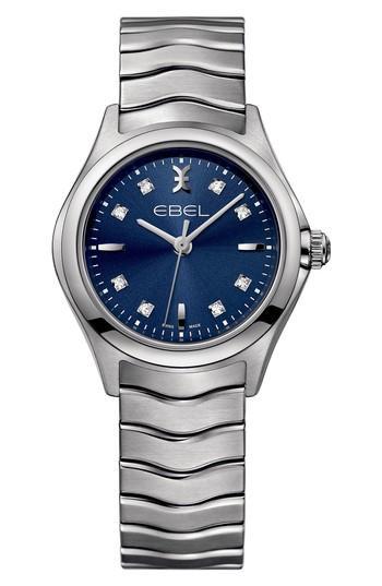 Ebel Wave Bracelet Watch, 30mm In Silver/ Blue/ Silver