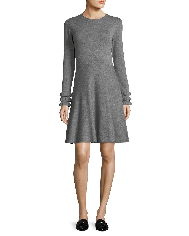 Akris Punto Knit Wool Ruffle-cuff Dress In Gray