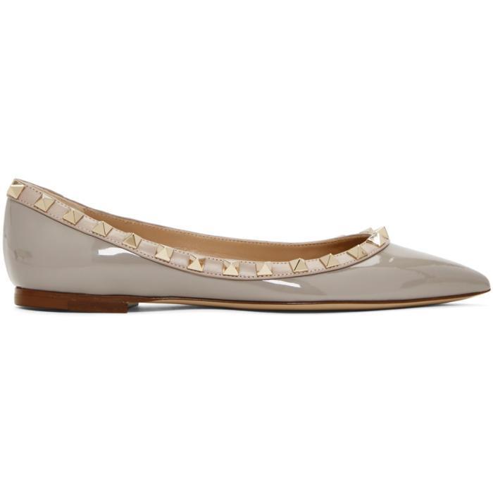 Valentino Grey  Garavani Rockstud Ballerina Flats In Pr1 Perla
