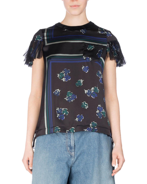 Sacai Floral-print Flutter-sleeve Top In Black