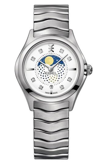 Ebel Moonphase Wave Bracelet Watch, 30mm In Silver/ White/ Silver