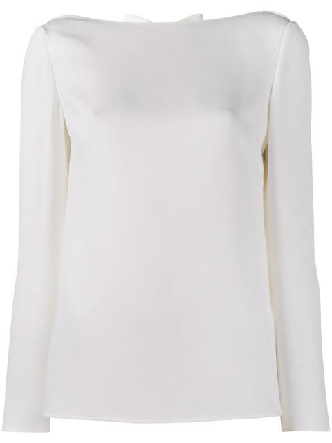 Valentino Bow Cowl-back Silk Cady Top In White