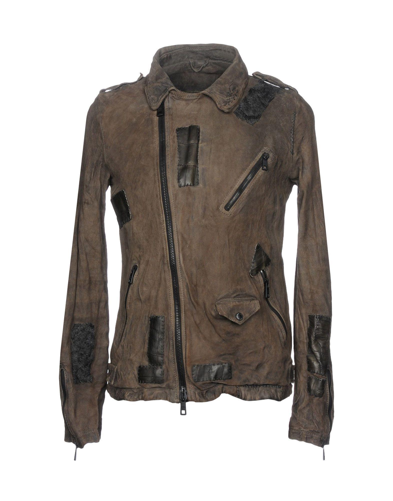 Giorgio Brato Leather Jacket In Khaki