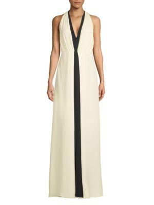 Valentino Sleeveless Silk Floor-length Dress In Ivory