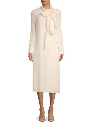 Valentino Long-sleeve Silk Midi Dress In Ivory