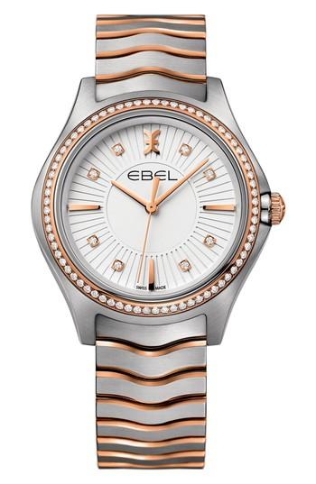 Ebel Wave Bracelet Watch, 35mm In Silver/ Rose Gold