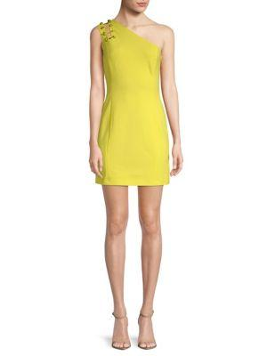 Versace One-shoulder Sheath Dress In Yellow