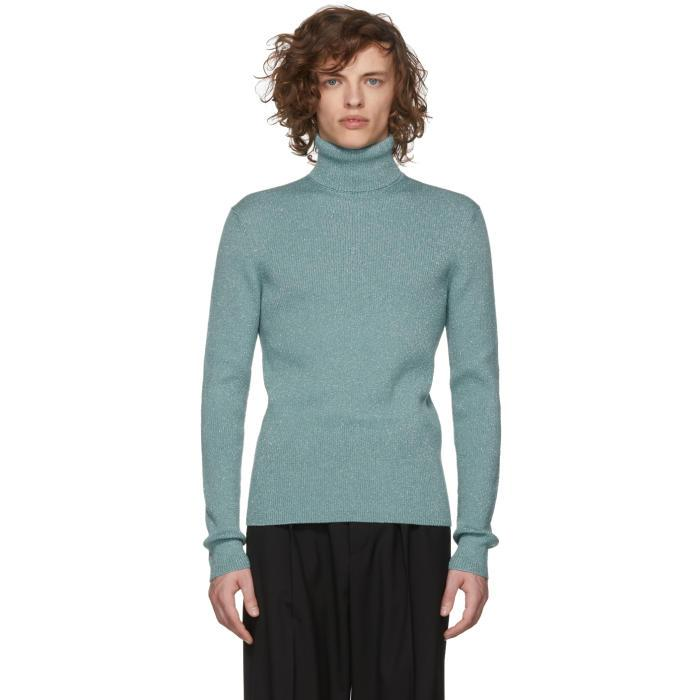 Gucci Blue Ribbed Lurex Turtleneck In 4465