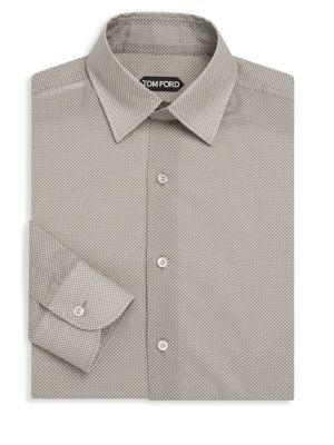 Tom Ford Dot-print Cotton Dress Shirt In Grey