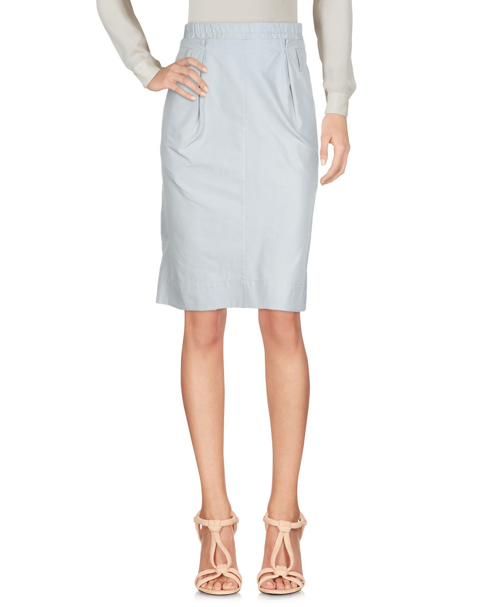 Jil Sander Knee Length Skirt In Light Grey