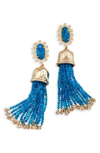 Kendra Scott Decker Tassel Drop Earrings In Aqua/ Brass