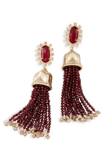 Kendra Scott Decker Tassel Drop Earrings In Berry/ Brass