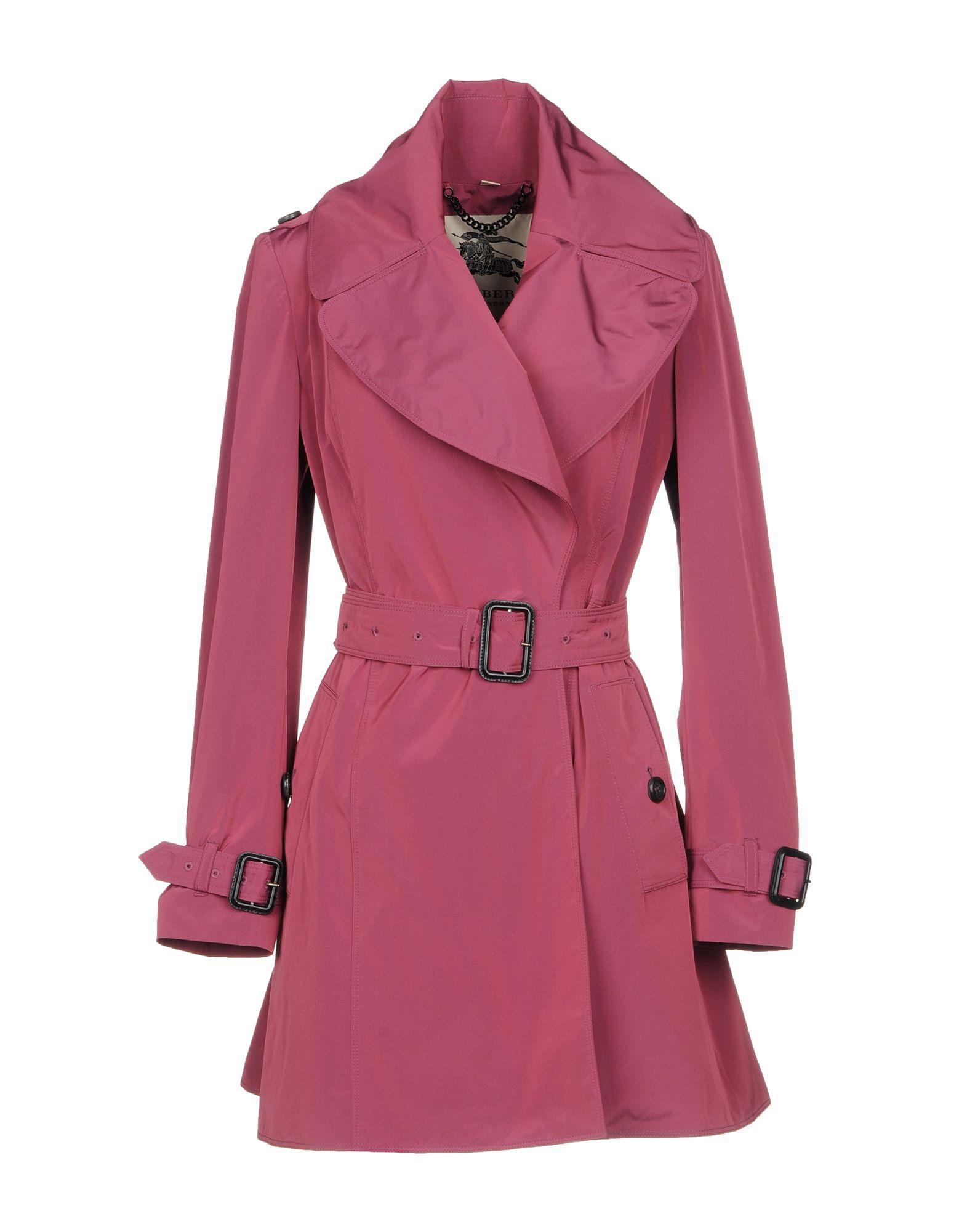 Burberry Overcoats In Light Purple