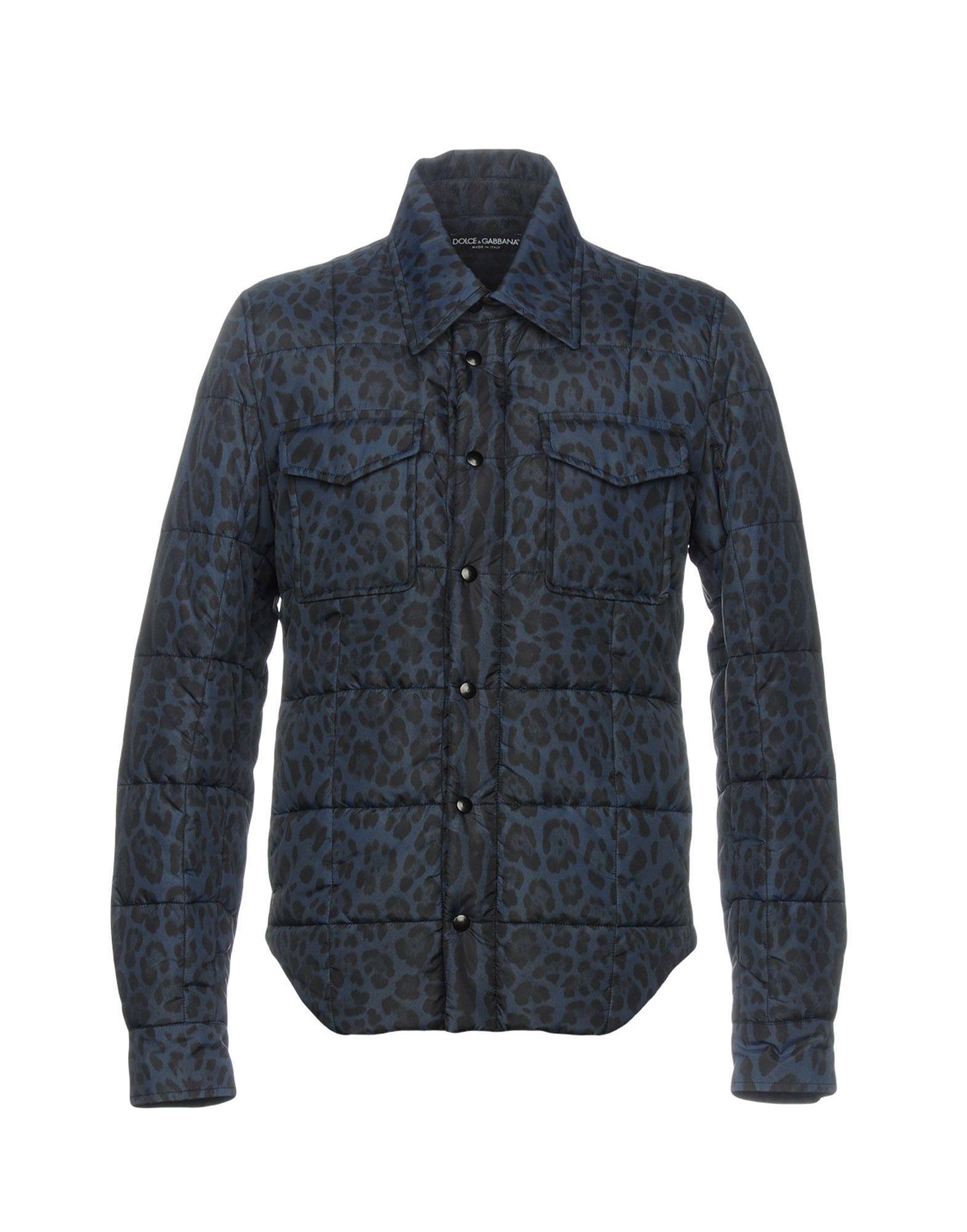 Dolce & Gabbana Synthetic Down Jackets In Dark Blue