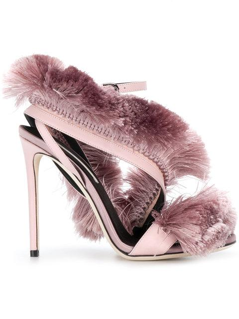 Marco De Vincenzo Fringed Strappy Sandals In Pink