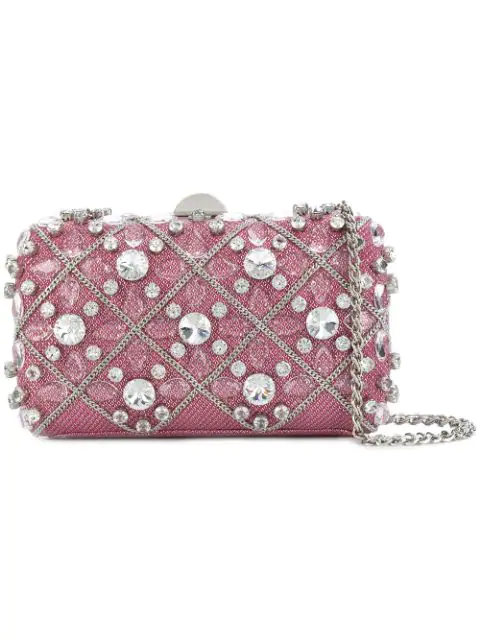 Rodo Embellished Hardshell Clutch - Pink