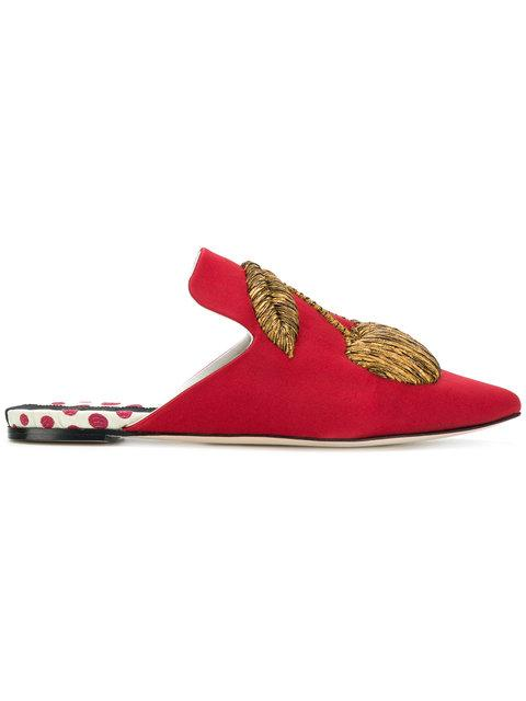 Sanayi313 Cherry Embellished Mules In Red