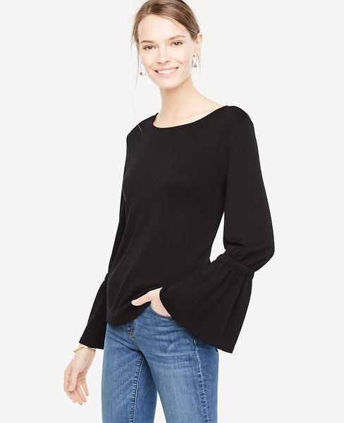 Ann Taylor Petite Bell Sleeve Top In Black