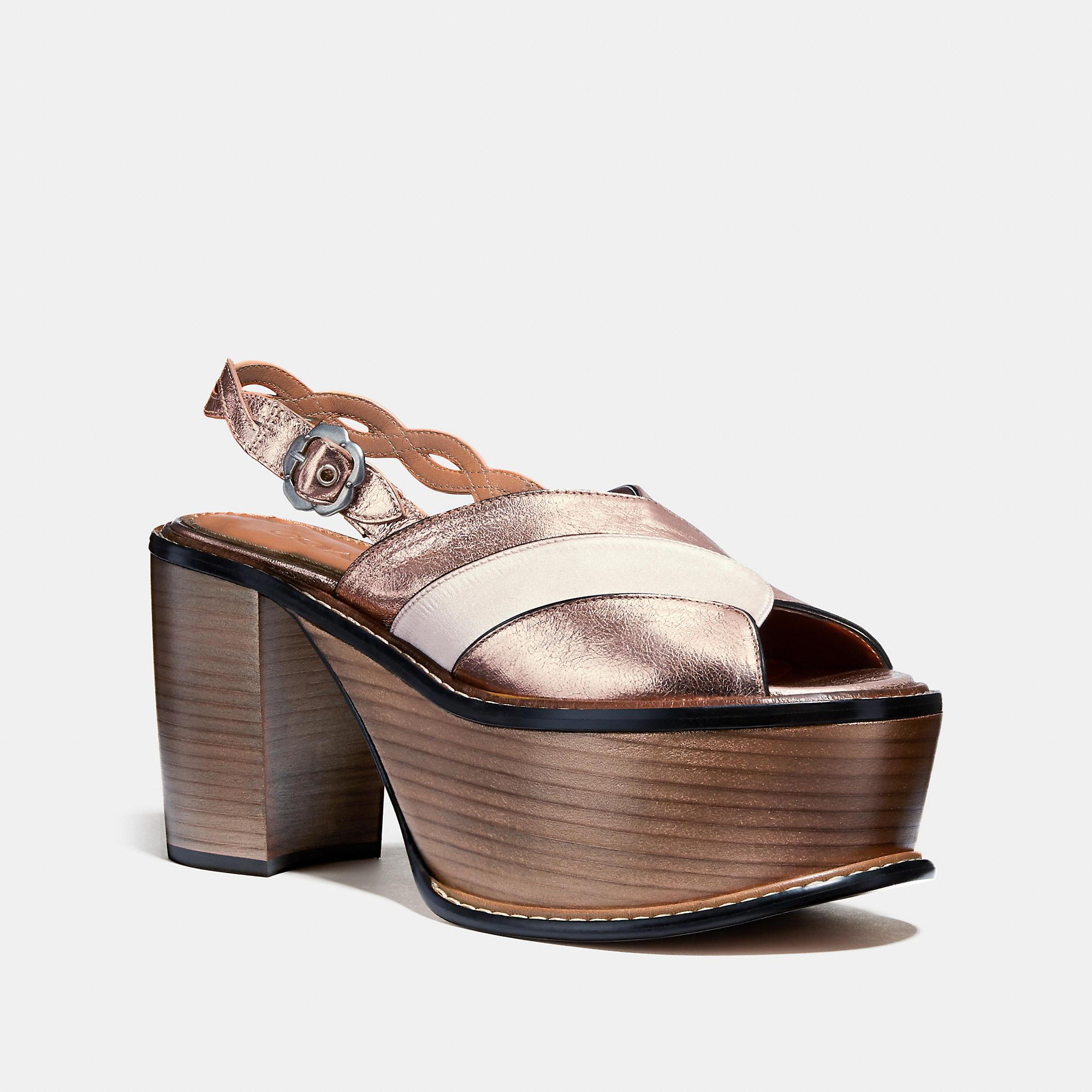 Coach Platform Sandal In Rose Gold/rose Gold