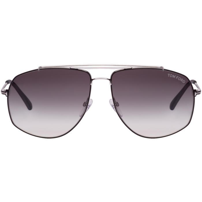 Tom Ford Black And Silver Georges Sunglasses In 18a Sh.rhod