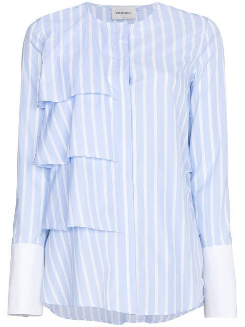 Monographie Ruffle Stripe Long Sleeve Shirt In Blue