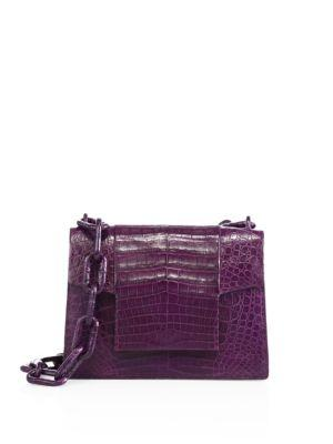Nancy Gonzalez Medium Crocodile Chain Flap Shoulder Bag In Dark Purple