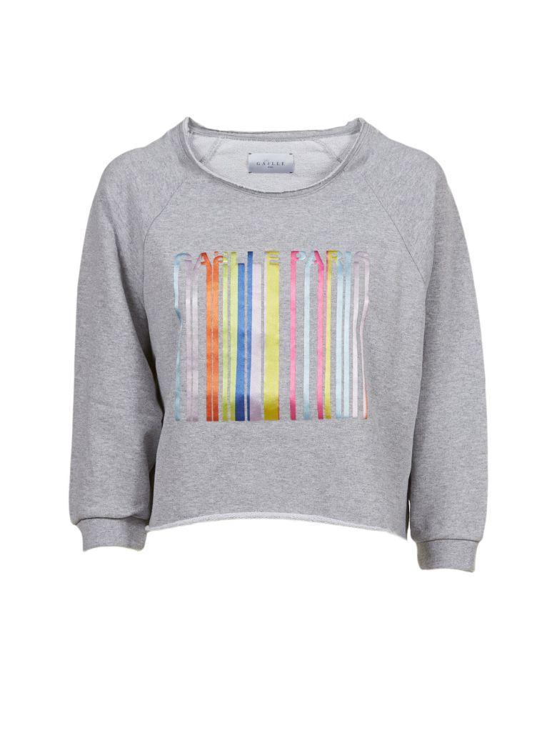 GaËlle Bonheur Three-quarter Sleeve Logo Sweatshirt In Grigio Multicolor