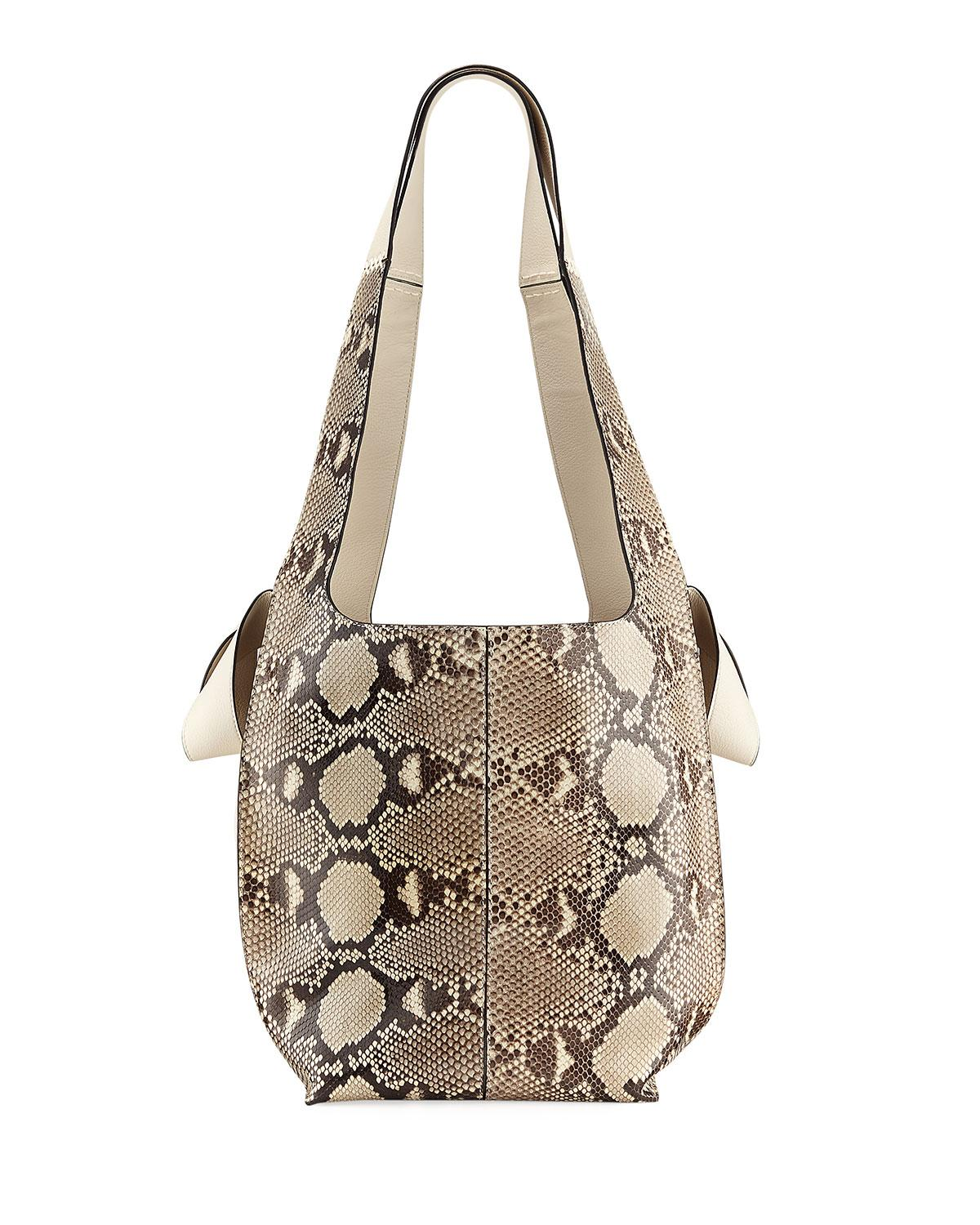 Loewe Python Two-tone Hobo Tote Bag In Neutral Pattern
