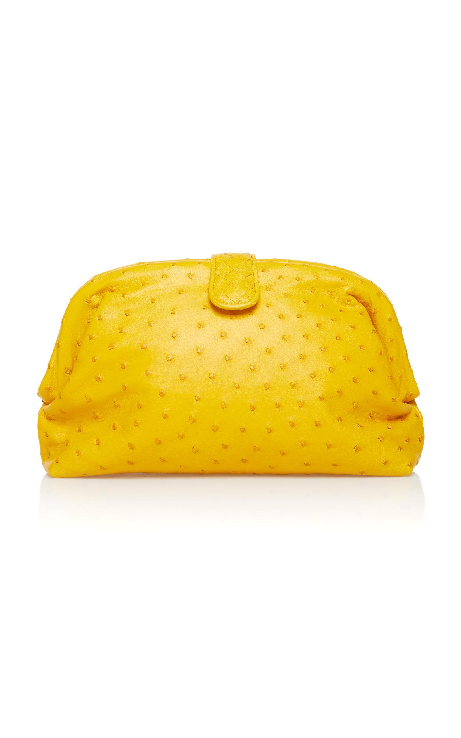Bottega Veneta Lauren Ostrich Leather Clutch In Yellow