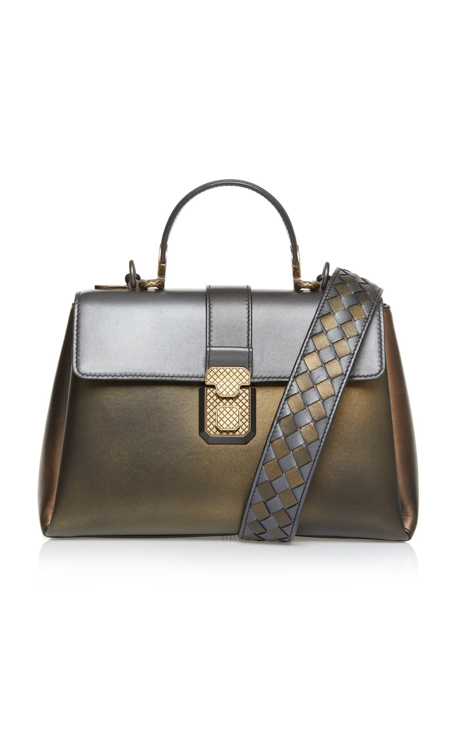 Bottega Veneta Antique Piazza Leather Top Handle Bag In Black