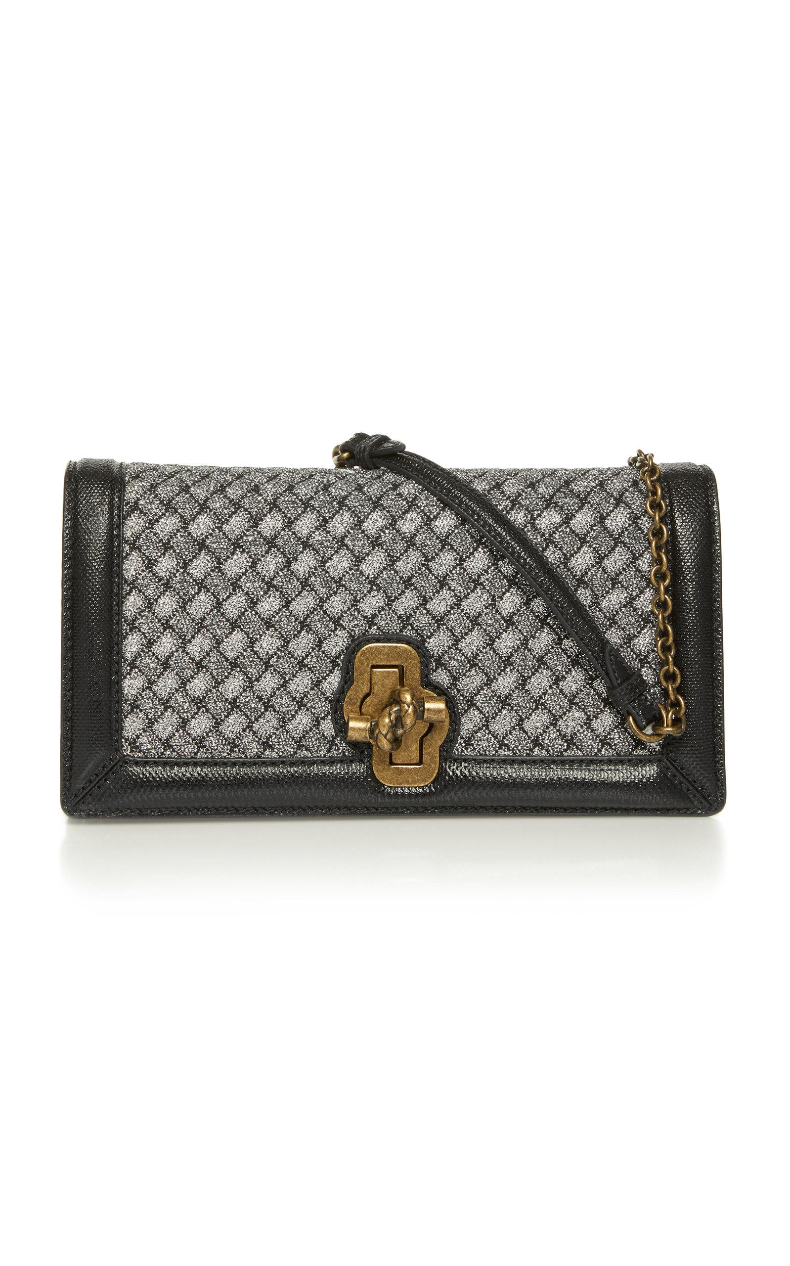 Bottega Veneta Knitted Knot Leather Clutch In Black